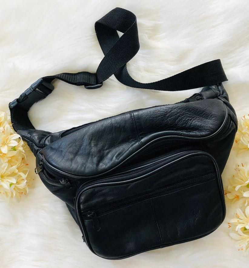 Black Jumbo Size Faux Leather Fanny Pack