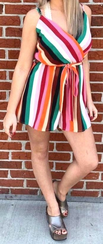 Stripped Colorful Romper