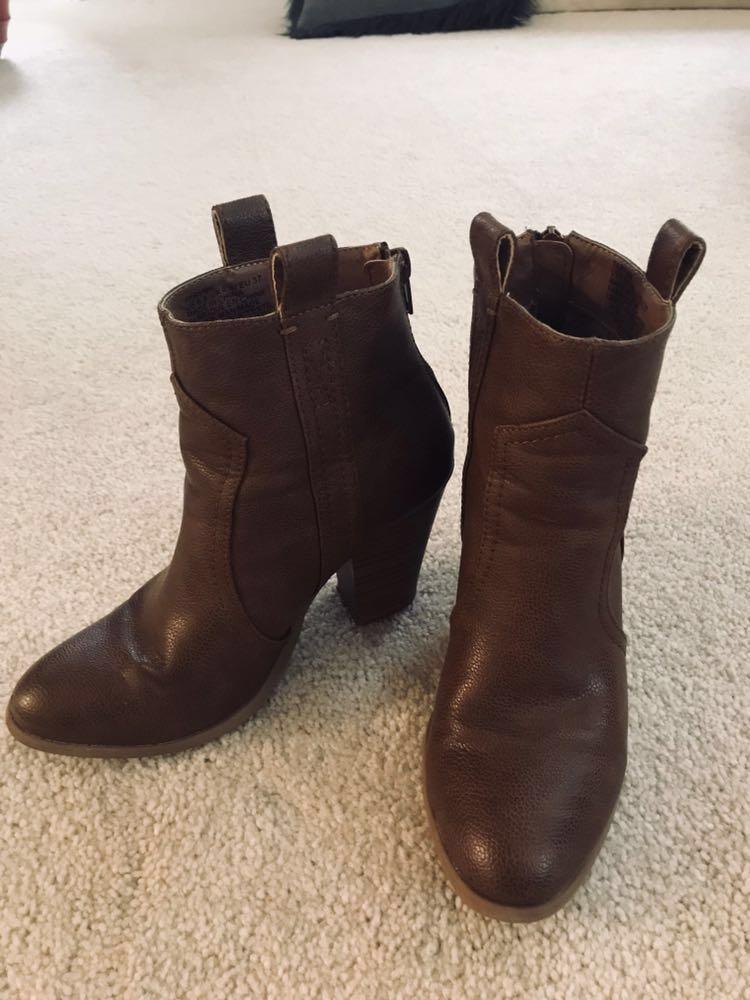 JustFab Brown Leather Heeled Booties