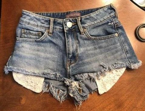 Kendall & Kylie high waisted denim shorty shorts
