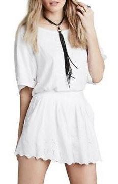 Free People White Eyelet Shorts
