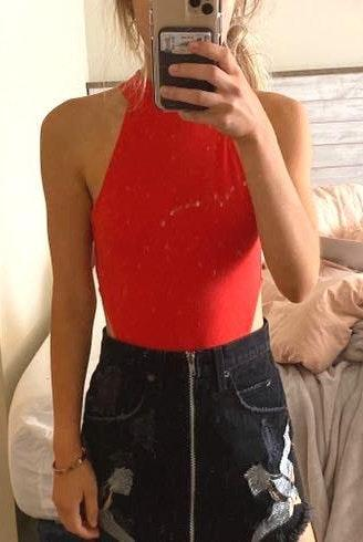 Red Cut Out Bodysuit