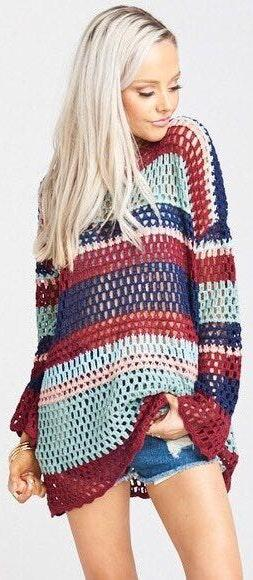 Show Me Your Mumu SMYM Paula Pullover Crochet Stripe