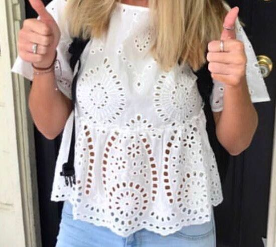 White Eyelet Cutout Top