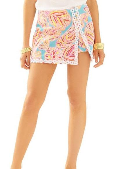 Lilly Pulitzer Blue Pink White Lenore Skirt