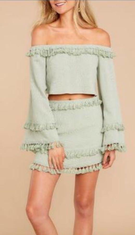 Skylar + Madison Green Tassel Skirt