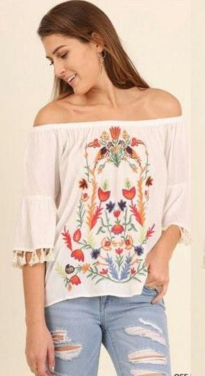 Umgee White Floral Off The Shoulder Top