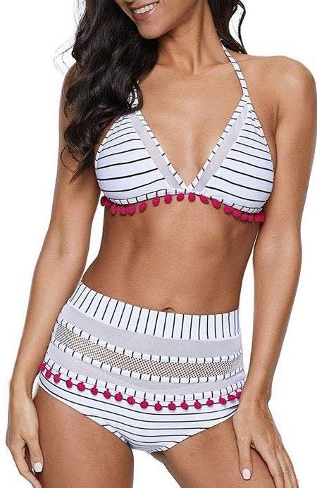 High Waisted Striped Bikini Set