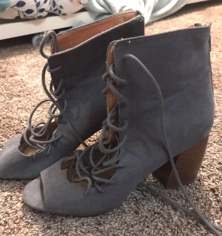 Qupid Grey Suede Heels
