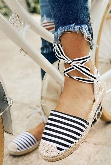 Impressions Striped Espadrille Flats Wrap Ankle