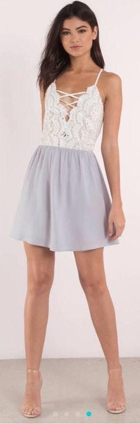 Tobi Kill em with kindness lilac lace skater dress