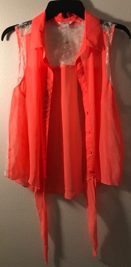 Candie's Hot Pink Button Up Blouse with Tie at Bottom
