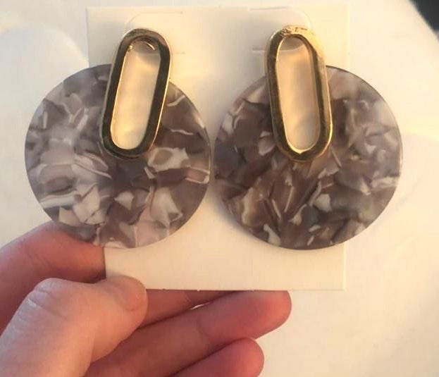 Francesca's New! Gold And Gray Marbled Earring