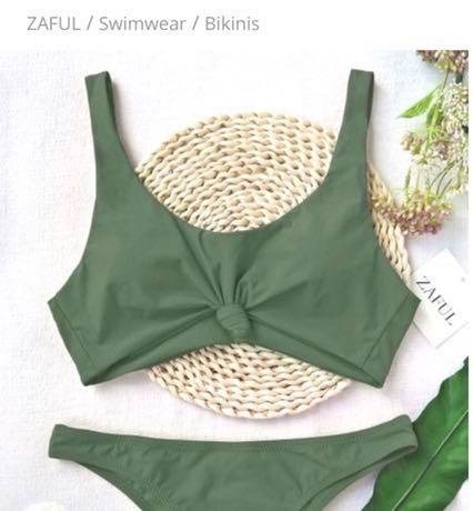 Zaful Army Green Bikini Top