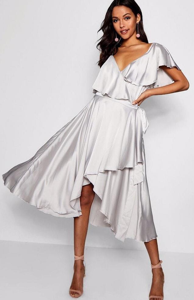 Silver Wrap Midi Dress