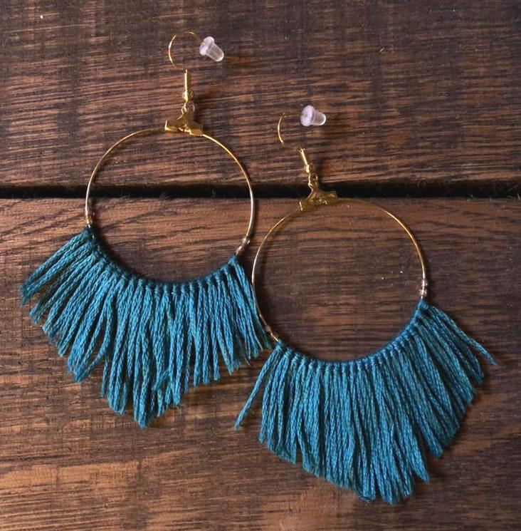BOHO Dark Teal Fringe Hoop Earrings