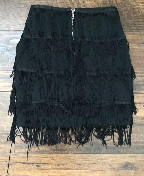 Pretty Little Thing Black Fringe Skirt