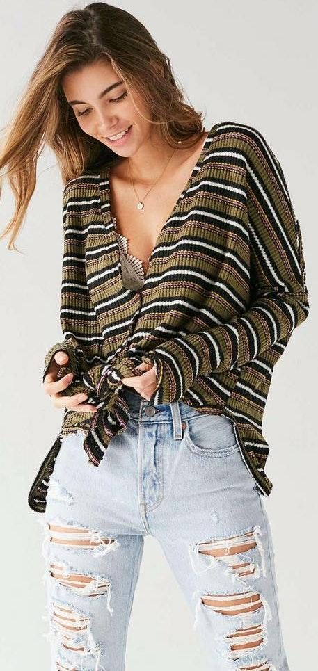 Urban Outfitters Oversized Thermal Button-front Top