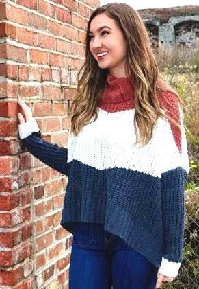 POL Chunky Color Block Sweater