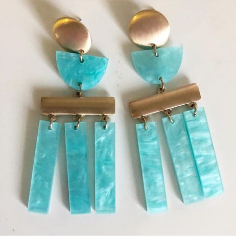 Behind the Glass Turquoise/gold earrings