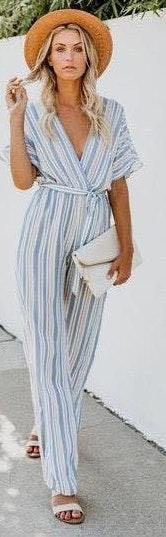 VICI Striped Jumpsuit With Tie