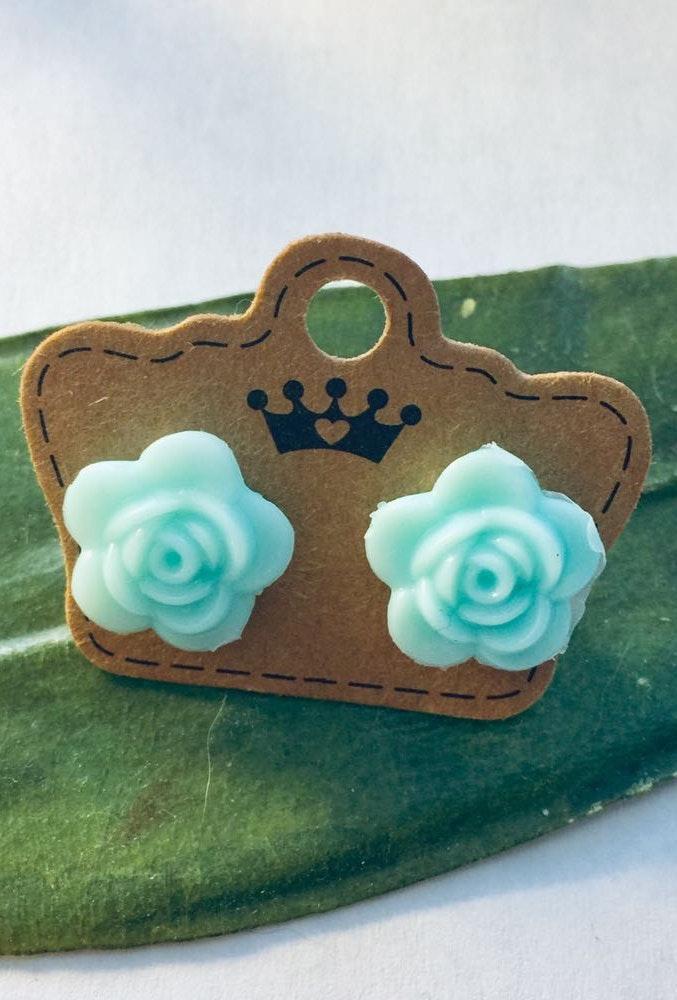Handmade Blue Flower Earrings.