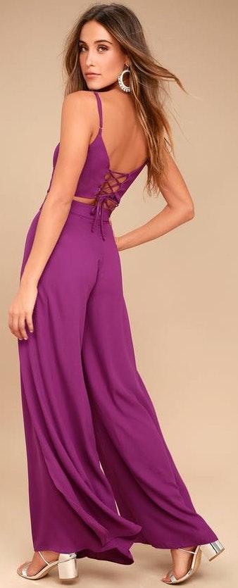Lulus Purple Two Piece Pant Set