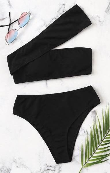 SheIn Black One Shoulder Bikini