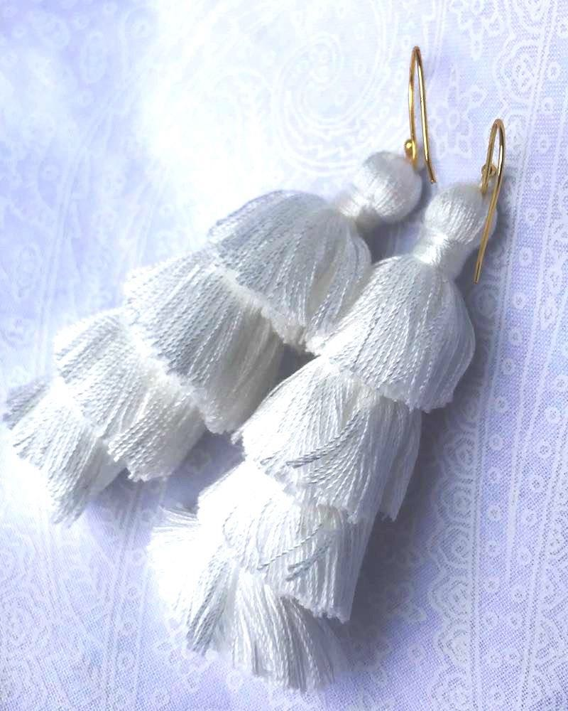 Whitw Fringe Earrings