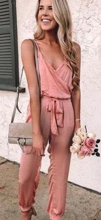Princess Polly Pink Satin jumpsuit