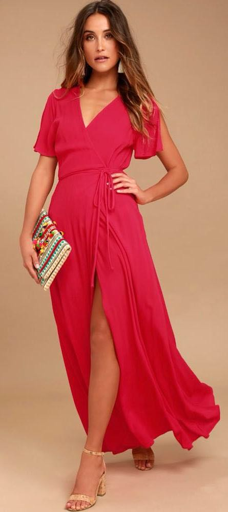Lulus Super Cute Red Maxi Dress