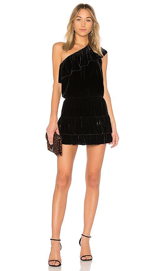 Joie black velvet one shoulder dress