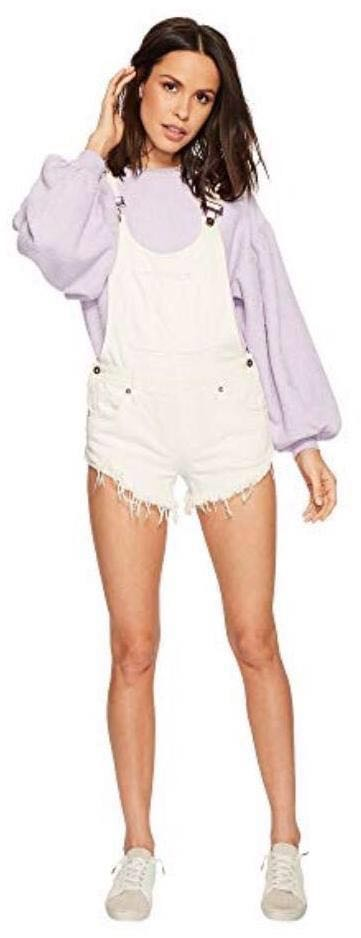 Free People White Overall Shorts