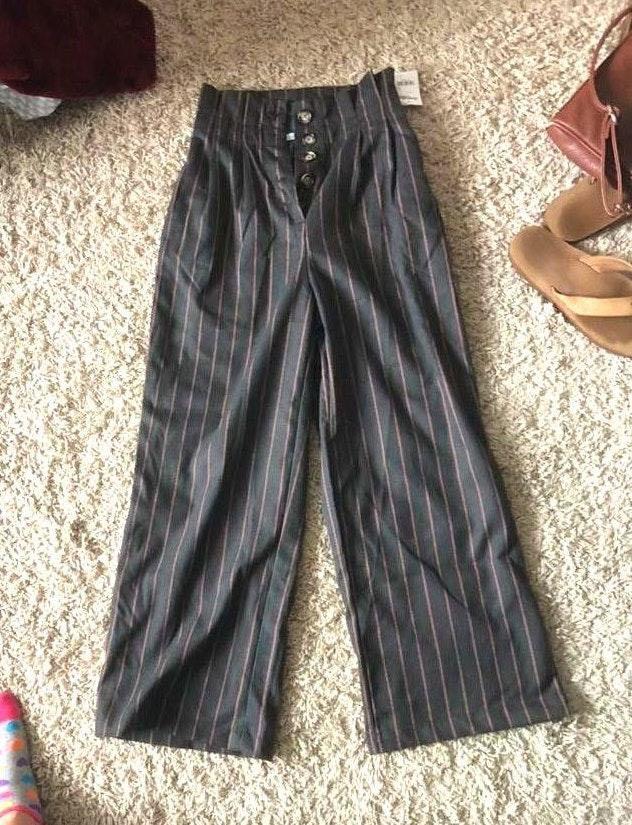 Charlotte Russe Button Up Wide Leg Pants
