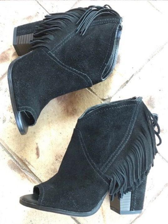 Gianni Bini Black Fringe Booties