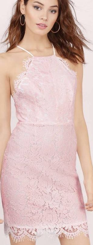 Tobi Spaghetti strap lace pink dress
