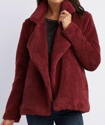 Charlotte Russe Dark Red Fuzzy Coat