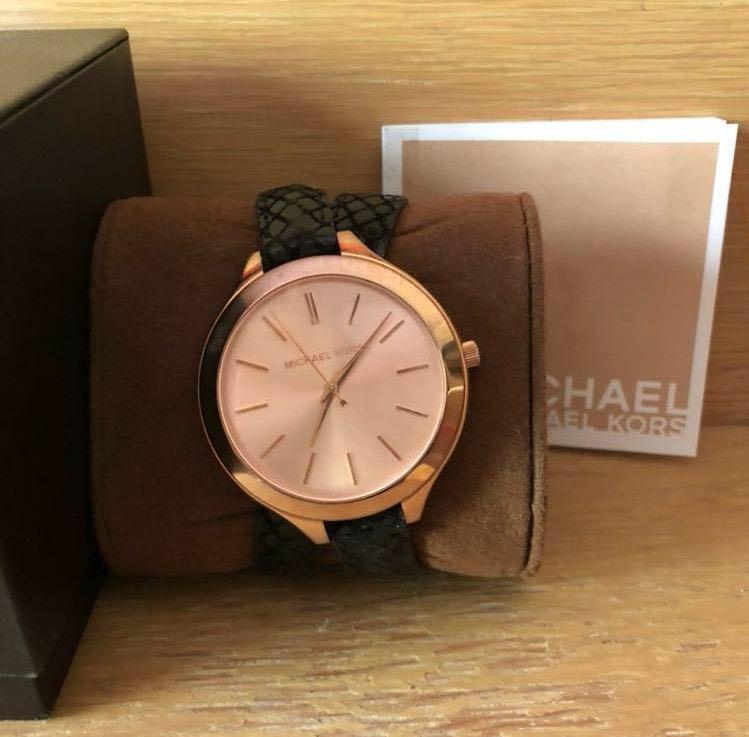 Michael Kors Black Rose Gold Wrap Around Watch