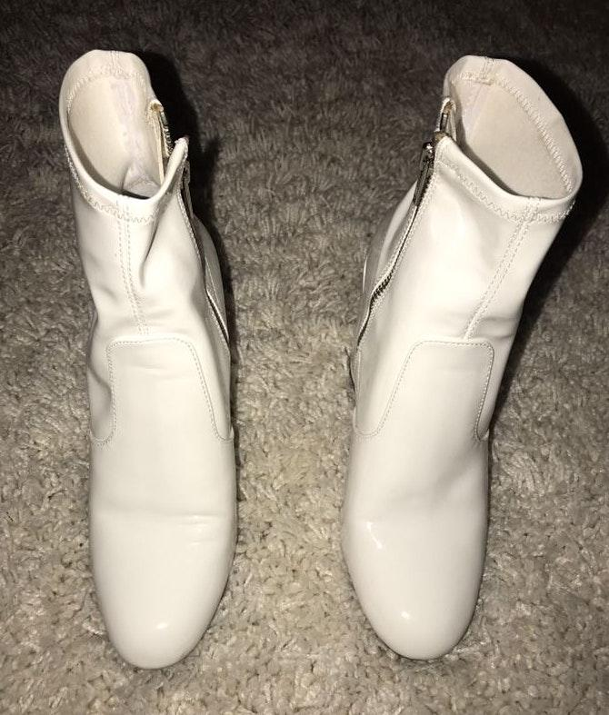 Steve Madden White Leather Heeled Booties