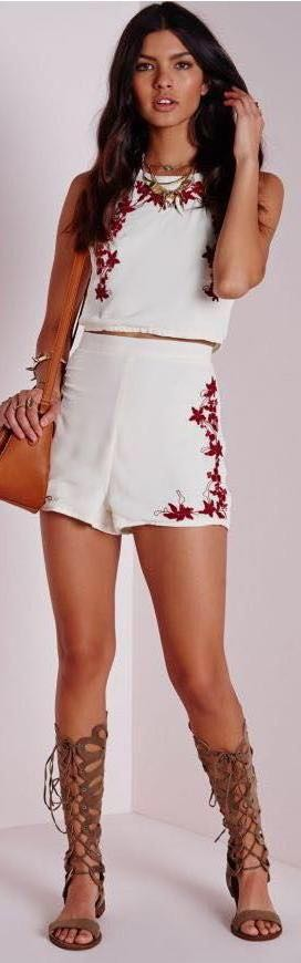 Missguided Garnet And White Two Piece Set