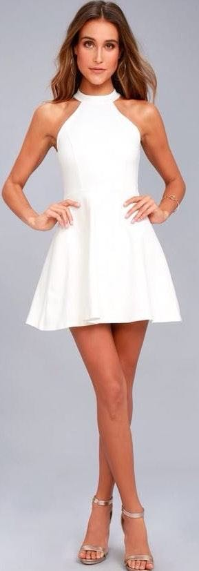 Lulus White Dress/ Graduation/ Bridal