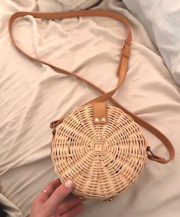 Etsy cute woven rattan round crossbody ⭐️