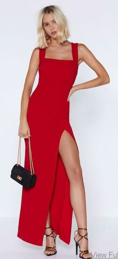 Nasty Gal Red Maxi Prom Dress