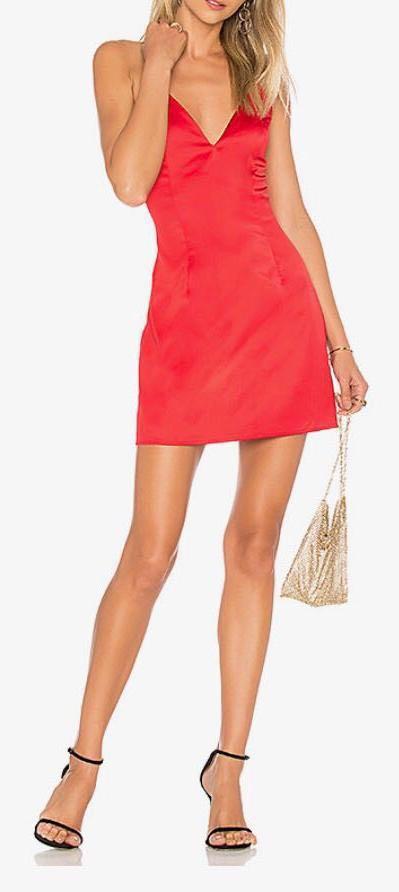 Revolve Satin Red Dress