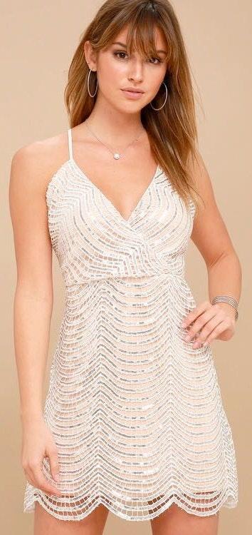 Lulus Silver Sequin Mini Dress
