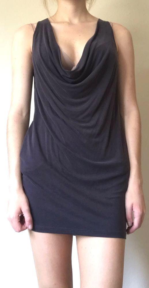 Lush Clothing Grey Scoop Neck Dress