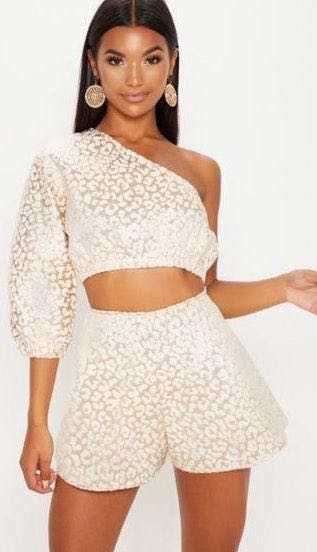 Pretty Little Thing Leapord One Shoulder Two Piece Set