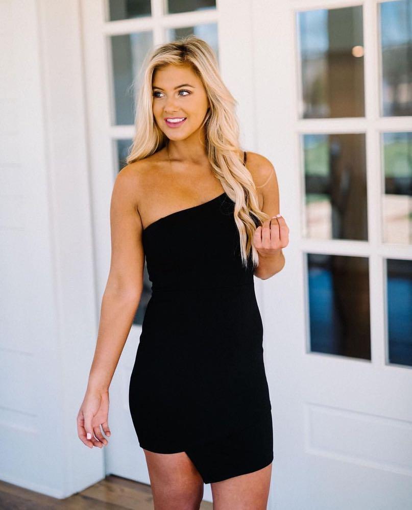 These Three Boutique Black One Strap Asymmetric Dress