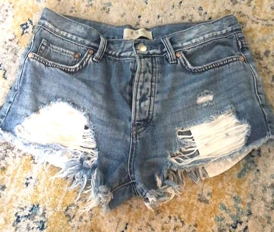 Free People We The Free Distressed Jean Shorts