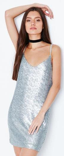 Kendall & Kylie Silver Sequined Strappy Dress